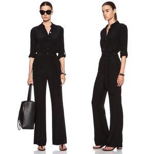 DVF Lori Silk Black Tie-Waist Belted Jumpsuit